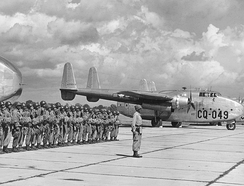 316th Troop Carrier Group C-82 about to airlift paratroops in an exercise. Fairchild C-82A-30-FA Packet serial 44-23049