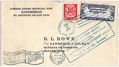 B.L. Rowe corner cover flown in the Spirit of St. Louis from Santo Domingo to Port-au-Prince and Havana