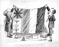"A 1911 political cartoon on Canada's bicultural identity showing a flag combining symbols of Britain, France and Canada; titled ""The next favor. 'A flag to suit the minority.'"""