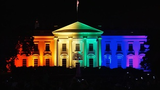 The White House, illuminated in rainbow colors, on the evening of the Obergefell ruling, June 26, 2015.