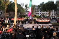 Mayor Miguel Ángel Mancera presides over a minute of silence for the earthquake victims at the 30-year commemoration