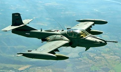 An FAS A-37 Dragonfly in flight over Mexico