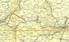 Route of the Great Western Railway on Cheffin's Map, 1850. The sweep to the north from Reading is clearly seen.