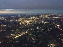 Aerial view of Cincinnati during twilight