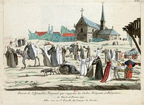 In this caricature, monks and nuns enjoy their new freedom after the decree of 16 February 1790.