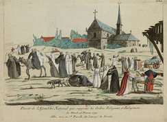Period caricature, after the decree of 16 February 1790, monks and nuns enjoy their new freedom