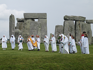 A group of Druids at Stonehenge in Wiltshire, England