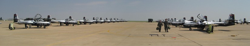 A panorama of T-37s at Sheppard AFB in 2007 operated as part of the Euro-NATO Joint Jet Pilot Training Program.