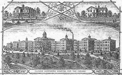 Historic print of Main Building of Elgin State Hospital, demolished in 1993