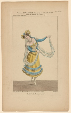 Ballerine dancing « la Quarache » in act 1 of La muette de Portici at the Académie royale de musique (Salle Le Peletier, Paris) in 1828.