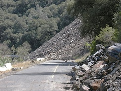 The Ferguson Slide is an active landslide in the Merced River canyon on California State Highway 140, a primary access road to Yosemite National Park.