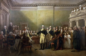 General George Washington Resigning His Commission, by John Trumbull, shows Walker standing directly behind Washington and to the left of Col. David Humphreys[2]