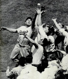 Hodges attempting to make a catch at Ebbets Field