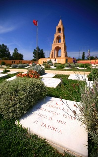 Turkish battlefield monument and cemetery at Gallipoli