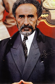 Emperor Haile Selassie standing in front of throne c.1965