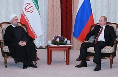 Iranian President Hassan Rouhani meeting with Russian President Vladimir Putin. Iran and Russia are strategic allies.[264][265][266]