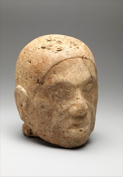 Male head broken from larger whole figure, 13th–14th century, marble, discovered in Tennessee