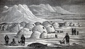 A book illustration of an Inuit village, Oopungnewing, near Frobisher Bay on Baffin Island (Canada) in the mid-19th century