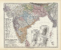 Map of India and Asia, printed in Stieler's Atlas.