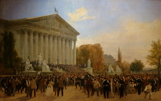 A crowd celebrates the proclamation of the Third Republic outside the Palais Bourbon (4 September 1870)