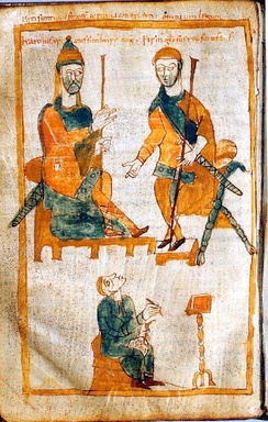 Charlemagne (left) and his eldest son, Pepin the Hunchback. Tenth-century copy of a lost original from about 830.