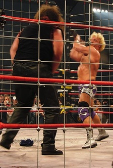 Jarrett hitting Abyss with a thumbtack-filled guitar during the Lethal Lockdown match at the April 15, 2007 Lockdown 2007 pay-per-view