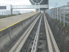 London Stansted Airport people mover with central rail power feed