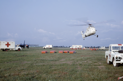 A makeshift airport in Calabar, Nigeria, where relief efforts to aid famine victims were deployed by helicopter teams