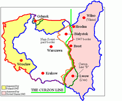 Poland's old and new borders in 1945