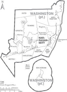 Map of Washington County, Rhode Island showing towns, census-designated places, and Narragansett tribal lands
