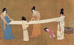 A painting depicting women inspecting silk, early 12th century, ink and color on silk, by Emperor Huizong of Song.