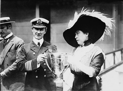 The real Margaret Brown (right) giving Captain Arthur Henry Rostron an award for his service in the rescue of Titanic's surviving passengers.