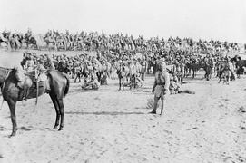 Mysore and Bengal Lancers with Bikanir Camel Corps in the Sinai Desert 1915.