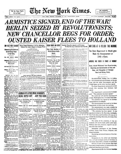 Front page of The New York Times on 11 November 1918