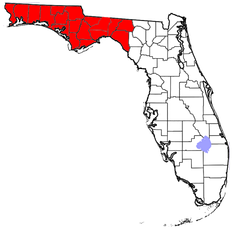 Florida counties that may be included in the Panhandle; the eastern extent of the Panhandle is arbitrarily defined and may vary