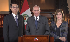 Peru's president Pedro Pablo Kuczynski speaks about the impeachment process against him