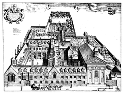 Bird's eye view of Pembroke College, Cambridge by David Loggan, published in 1690.