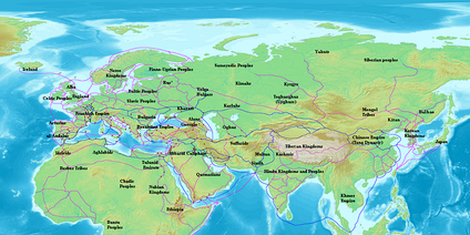 Map of Eurasia showing the trade network of the Radhanites (in blue), c. 870, as reported in the account of ibn Khordadbeh in the Book of Roads and Kingdoms. Other trade routes of the period shown in purple
