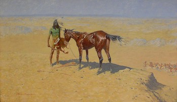 Ridden Down (1905–1906) depicts an Indian in defeat with his horse exhausted, stoically calling the spirits while awaiting his fate