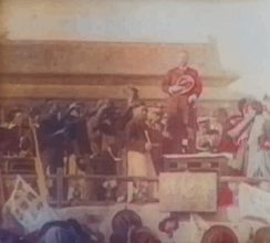 Sun Yat-sen proclaiming the establishment of the ROC in 1912