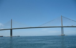 The Sunshine Skyway Bridge viewed from the Tampa Bay