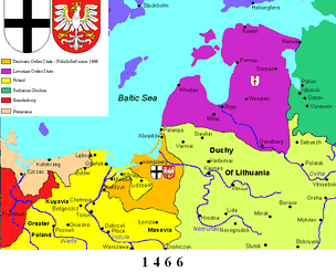 The Teutonic Order (orange) following the Second Peace of Thorn (1466)