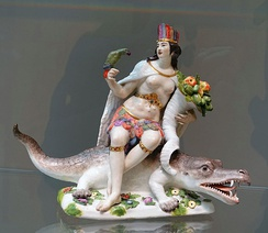 Personification of the Americas in Meissen porcelain, c. 1760, from a set of the Four Continents.