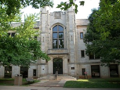 The University of Arkansas Agriculture Building is one example of Collegiate Gothic architecture on campus as part of the 1925 master plan.