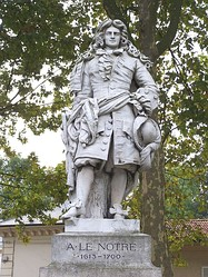 Antoine-Augustin Préault's statue of André Le Nôtre a landscape architect and the gardener of King Louis XIV of France. He was most notably responsible for the construction of the park of the Palace of Versailles
