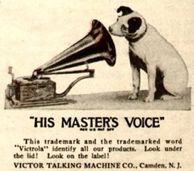 Victor Talking Machine's His Master's Voice logo with Nipper (1921).