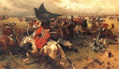Ottoman sipahis in battle, holding the crescent banner (by Józef Brandt)