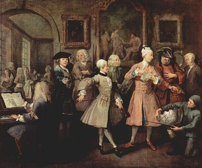The second scene of  William Hogarth's A Rake's Progress (1732-33) showing the wealthy Tom at his morning levée in London, attended by musicians and other hangers-on all dressed in expensive costumes. Surrounding Tom from left to right: a music master at a harpsichord, who was supposed to represent George Frideric Handel; a fencing master; a quarterstaff instructor; a dancing master with a violin; a landscape gardener Charles Bridgeman; an ex-soldier offering to be a bodyguard; a bugler of a fox hunt club. At lower right is a jockey with a silver trophy.