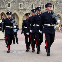 Sentries of the Worcestershire and Sherwood Foresters Regiment being posted at Windsor