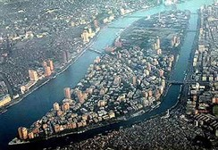 Aerial view looking south, with the Zamalek and Gezira districts on Gezira Island, surrounded by the Nile.